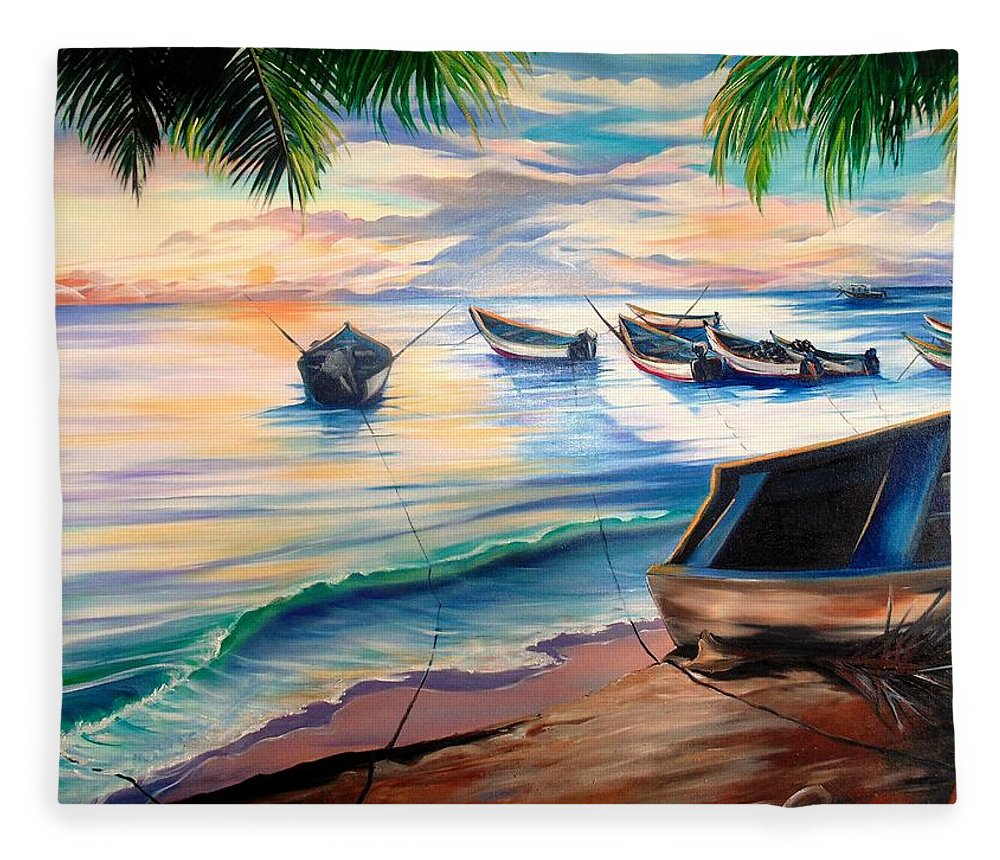 Ocean Painting Caribbean Painting Seascape Painting Beach Painting Fishing Boats Painting Sunset Painting Blue Palm Trees Fisherman Trinidad And Tobago Painting Tropical Painting Fleece Blanket featuring the painting Home From The Sea by Karin Dawn Kelshall- Best