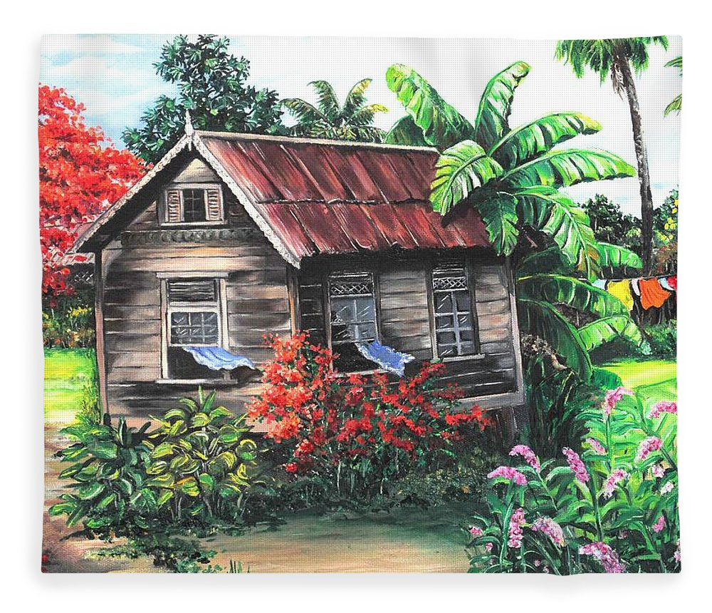 Caribbean House Fleece Blanket featuring the painting Home Sweet Home by Karin Dawn Kelshall- Best