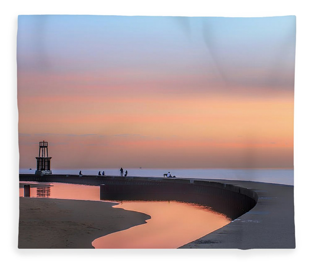 Dawn Fleece Blanket featuring the photograph Hook Pier Lighthouse - Chicago by Nikolyn McDonald
