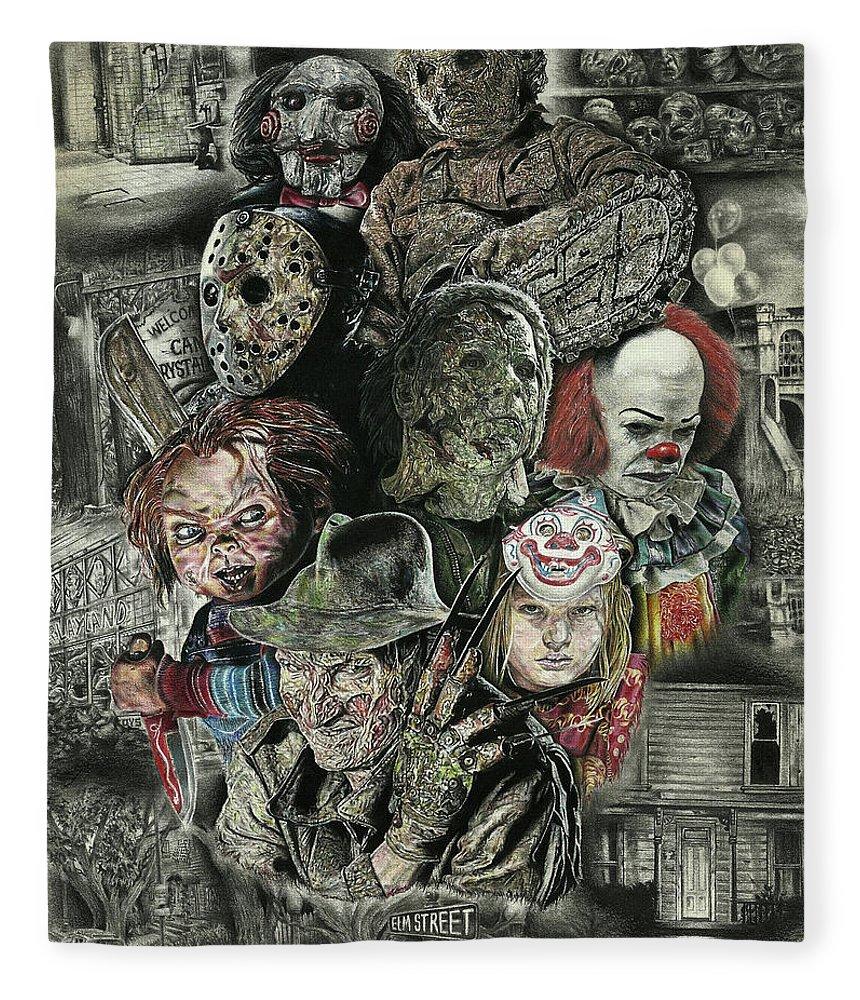 Fear Fleece Blanket featuring the drawing Horror Movie Murderers by Daniel Ayala