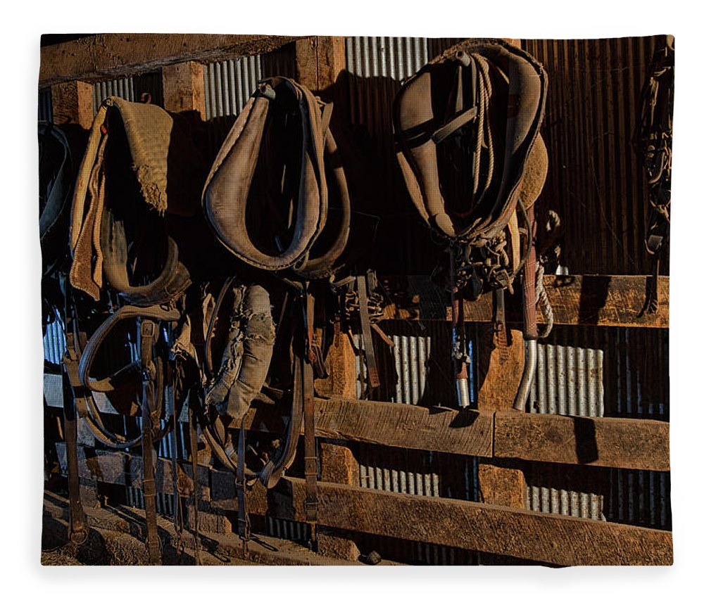 Barn Fleece Blanket featuring the photograph Horse Collars and Harness by Alana Thrower