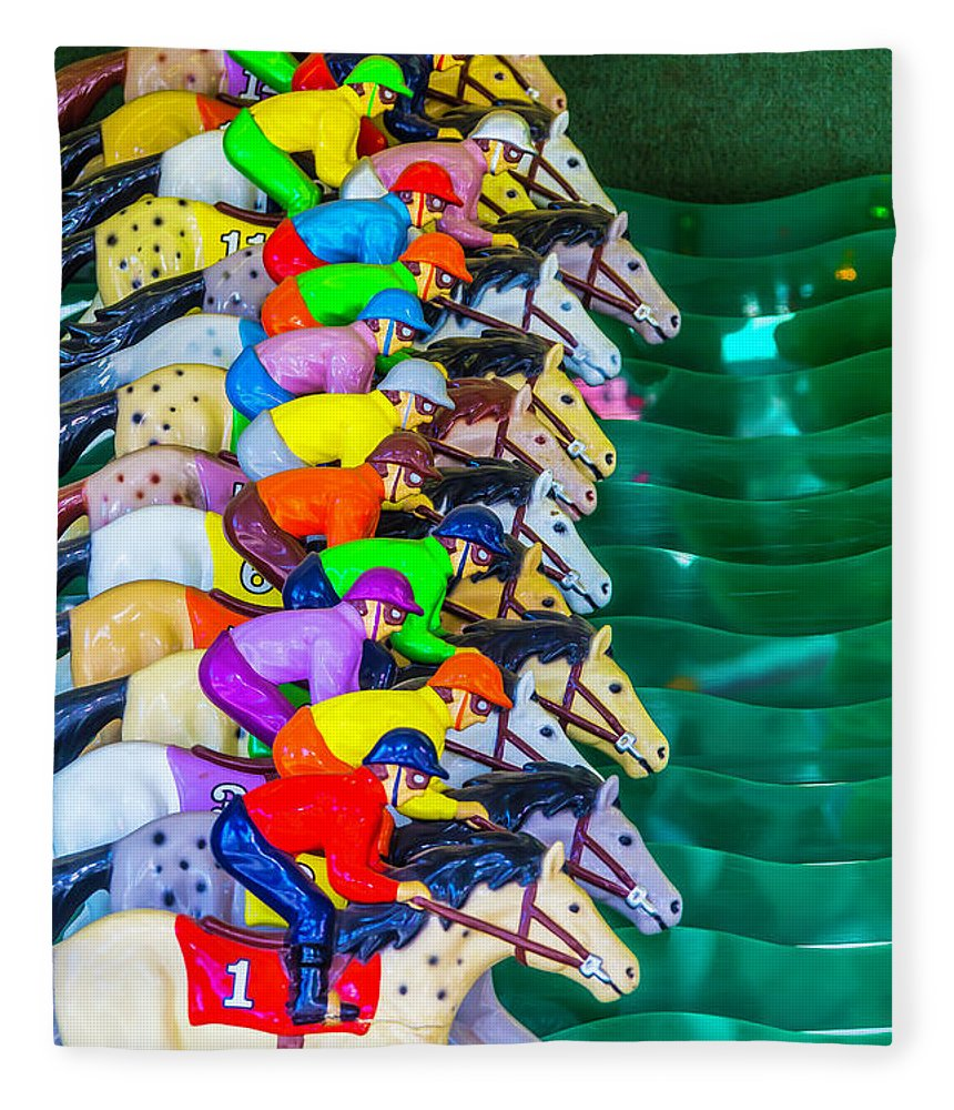 Carnival Horse Race Game Fair Fleece Blanket featuring the photograph Horse Race Game by Garry Gay