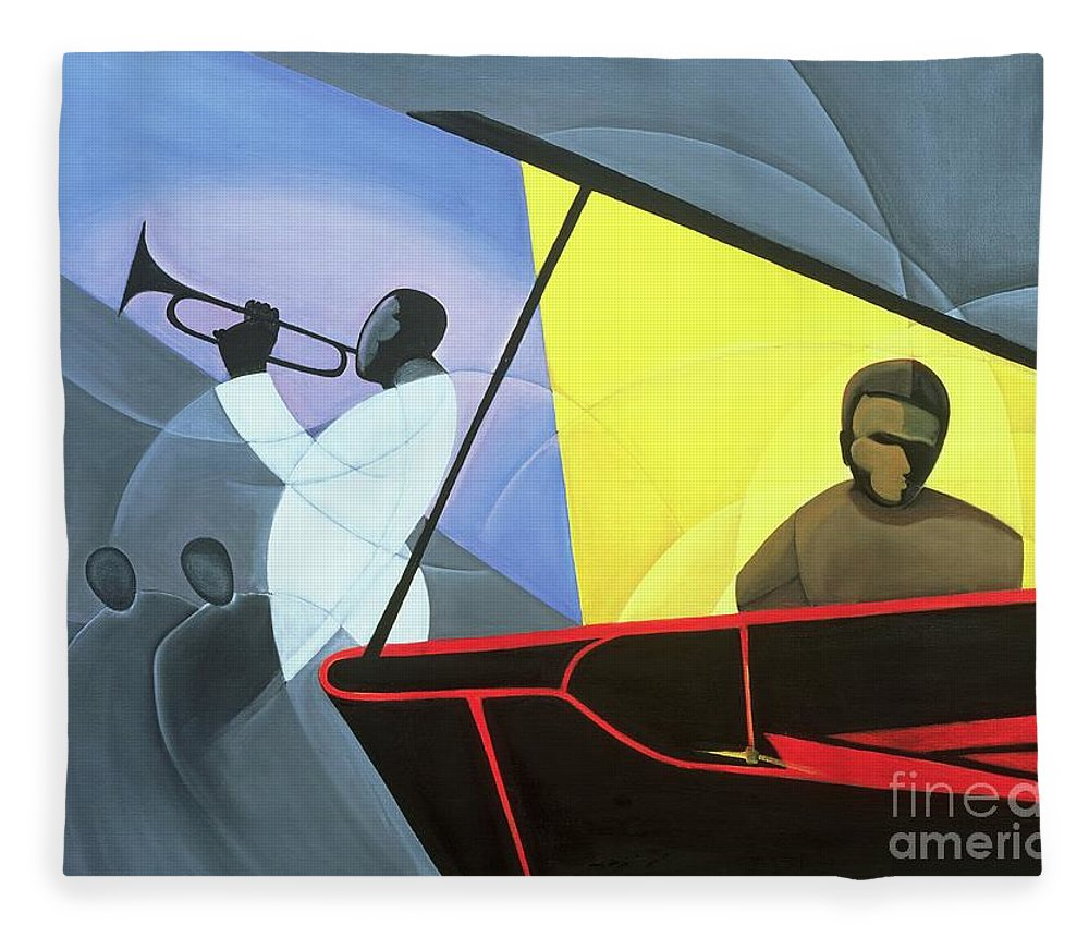 Hot And Cool Jazz Fleece Blanket featuring the painting Hot And Cool Jazz by Kaaria Mucherera