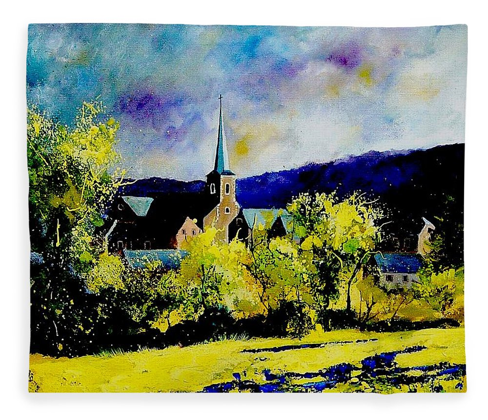 Poppies Fleece Blanket featuring the painting Hour Village Belgium by Pol Ledent
