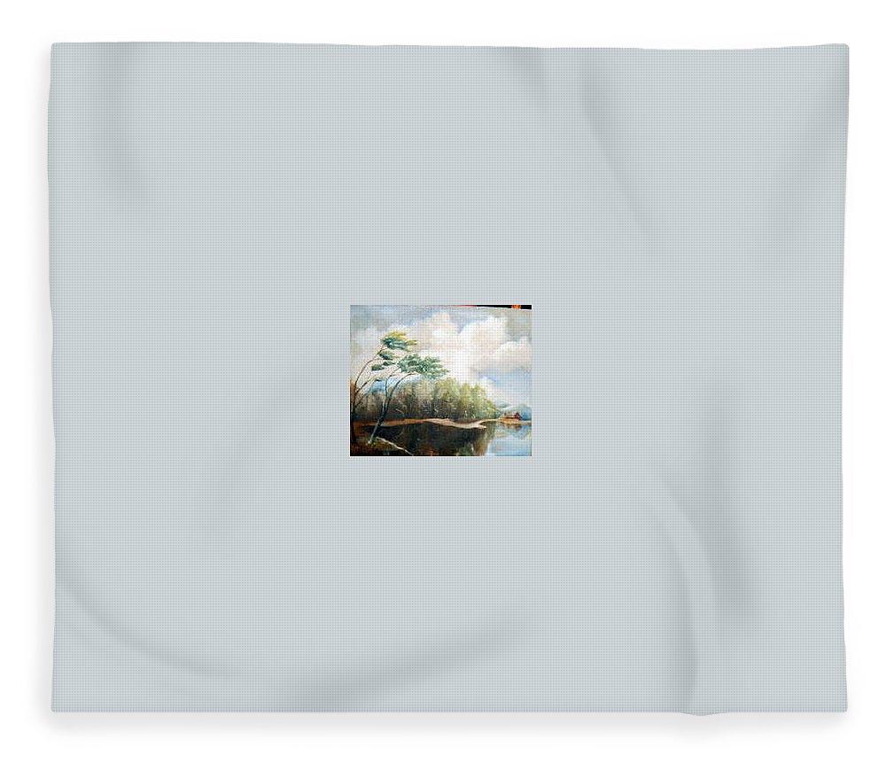 Landscape Fleece Blanket featuring the painting House on the lake by Sergey Bezhinets