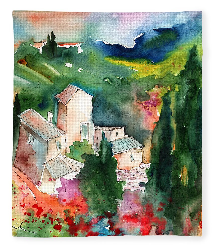 Landscapes Fleece Blanket featuring the painting Houses In Montepulciano In Tuscany 01 by Miki De Goodaboom