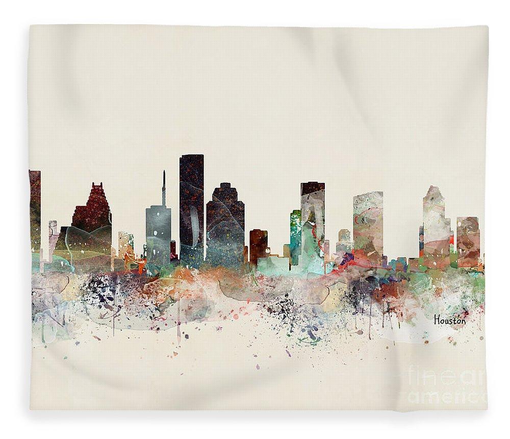 Houston Fleece Blanket featuring the painting Houston Texas Skyline by Bri Buckley
