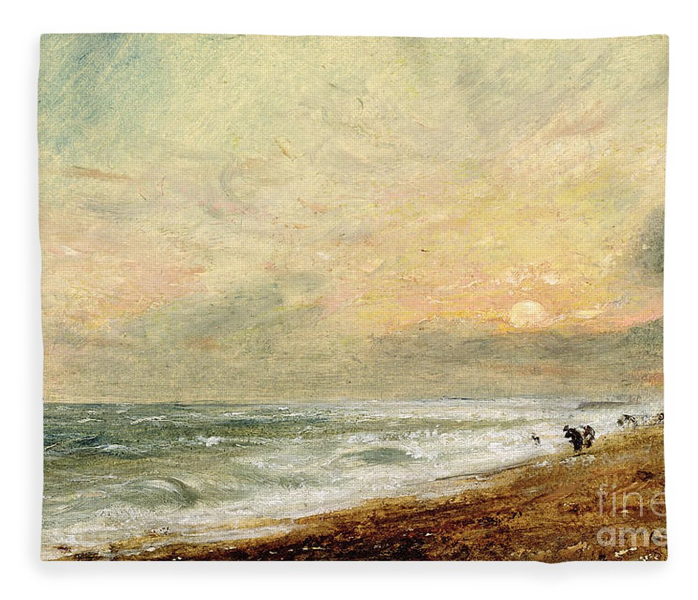 Xyc174465 Fleece Blanket featuring the photograph Hove Beach by John Constable