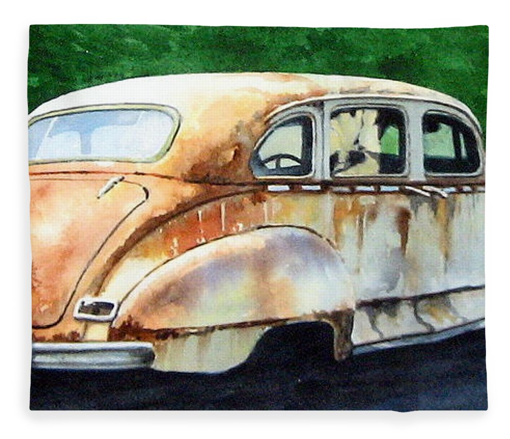 Hudson Car Rust Restore Fleece Blanket featuring the painting Hudson Waiting For a New Start by Ron Morrison