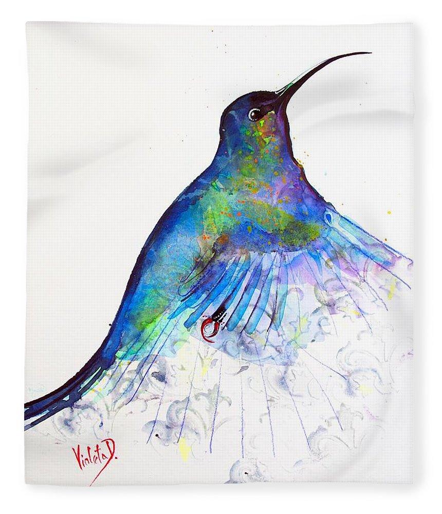 Hummingbird Fleece Blanket featuring the painting Hummingbird 11 by Violeta Damjanovic-Behrendt