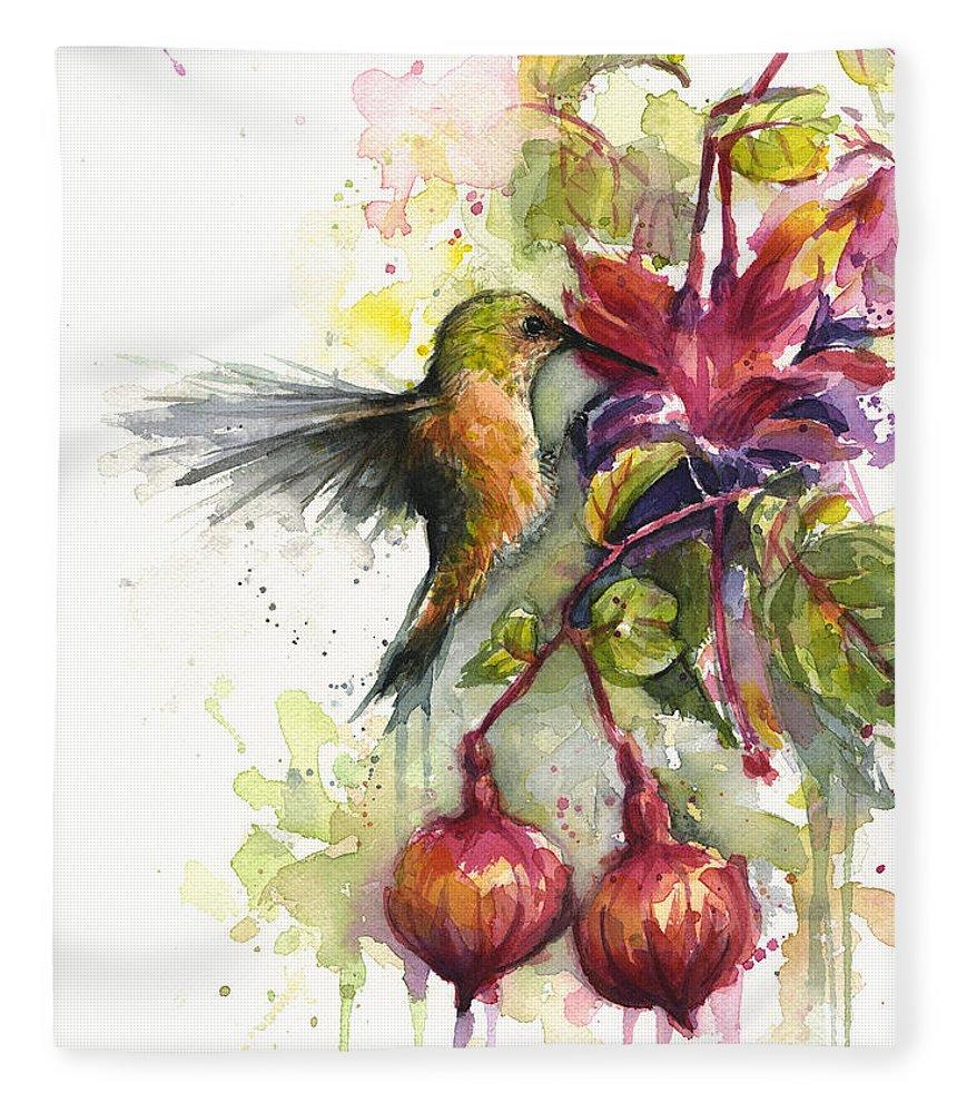 Hummingbird Fleece Blanket featuring the painting Hummingbird and Fuchsia by Olga Shvartsur