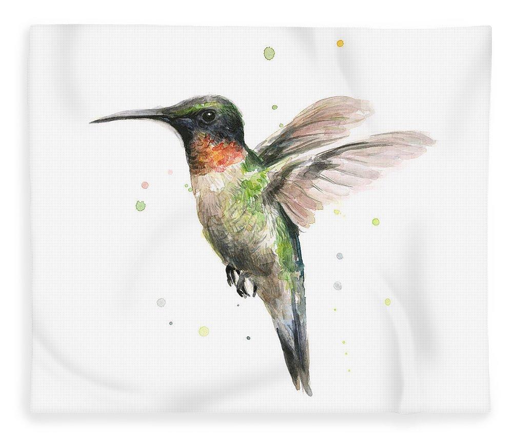 Animal Fleece Blanket featuring the painting Hummingbird by Olga Shvartsur