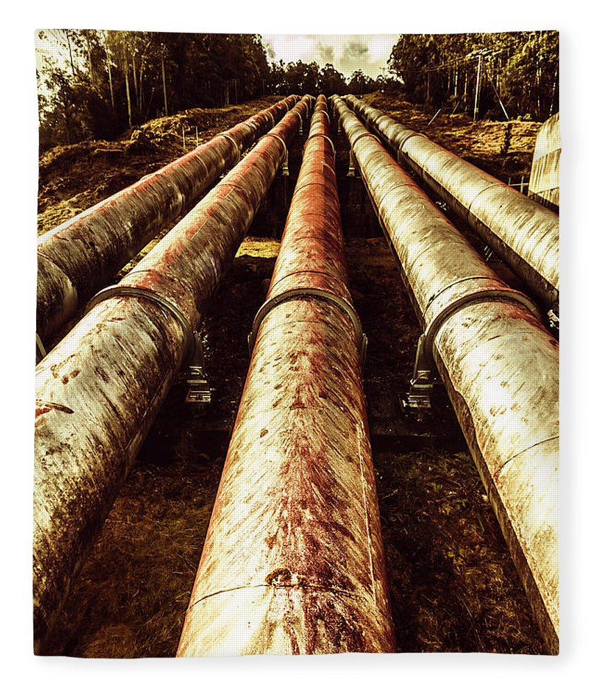 Hydroelectric Fleece Blanket featuring the photograph Hydroelectric Pipeline by Jorgo Photography - Wall Art Gallery