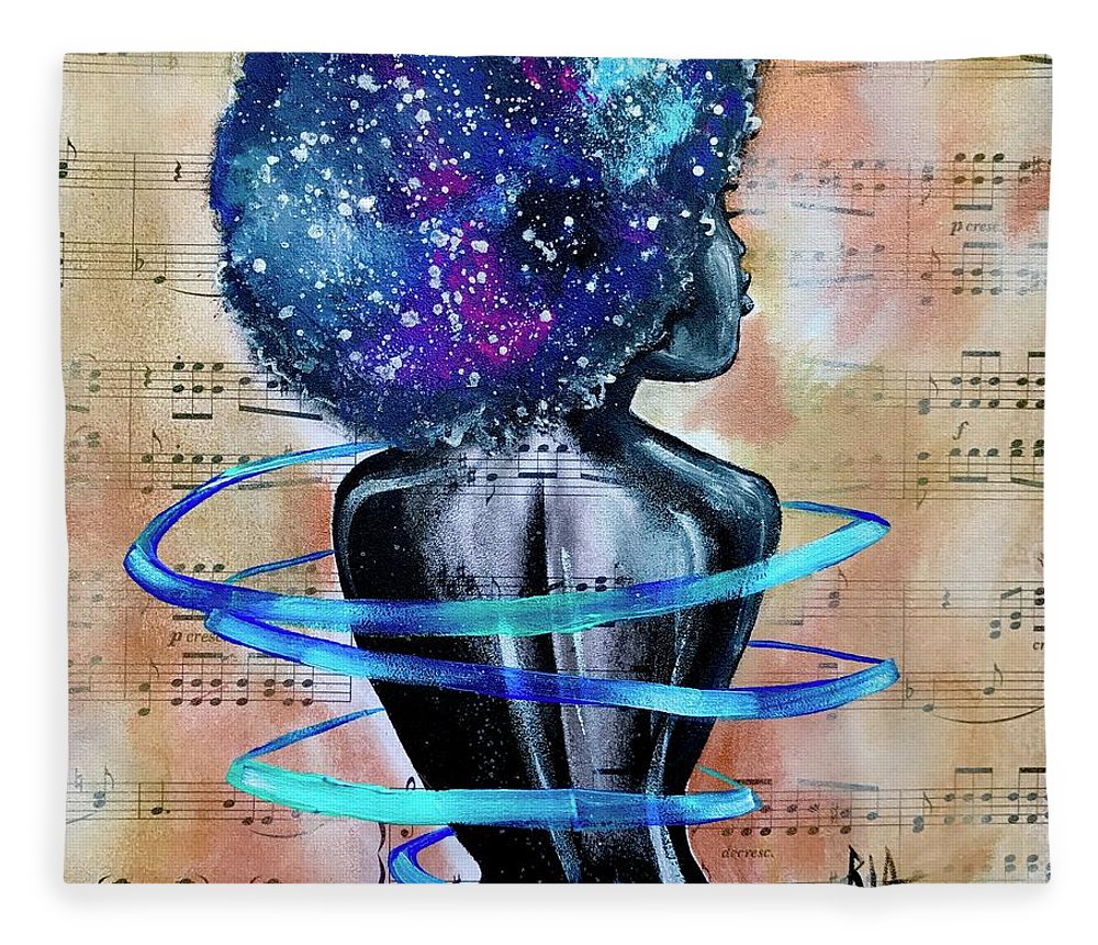 Space Fleece Blanket featuring the painting I am her... She is Me by Artist RiA