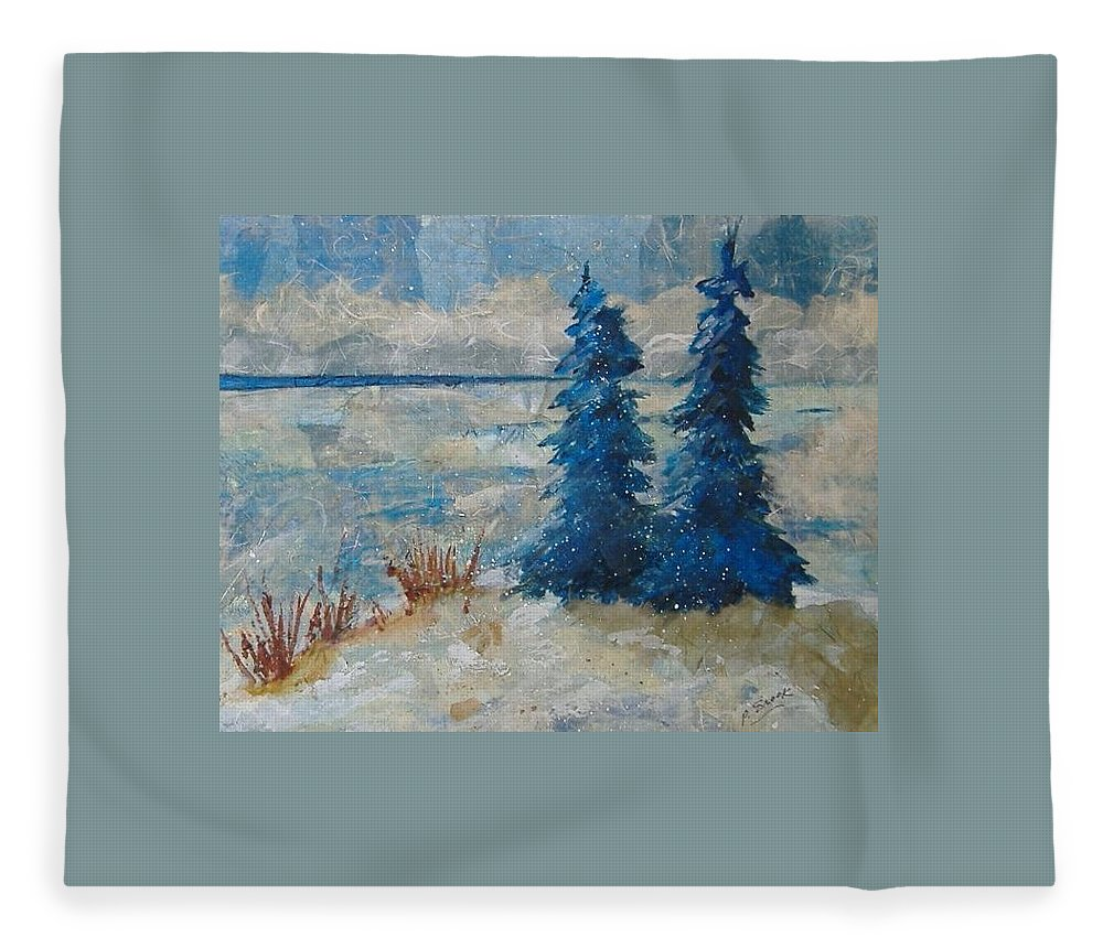 Landscape Fleece Blanket featuring the mixed media Ice On Lake Erie by Pat Snook