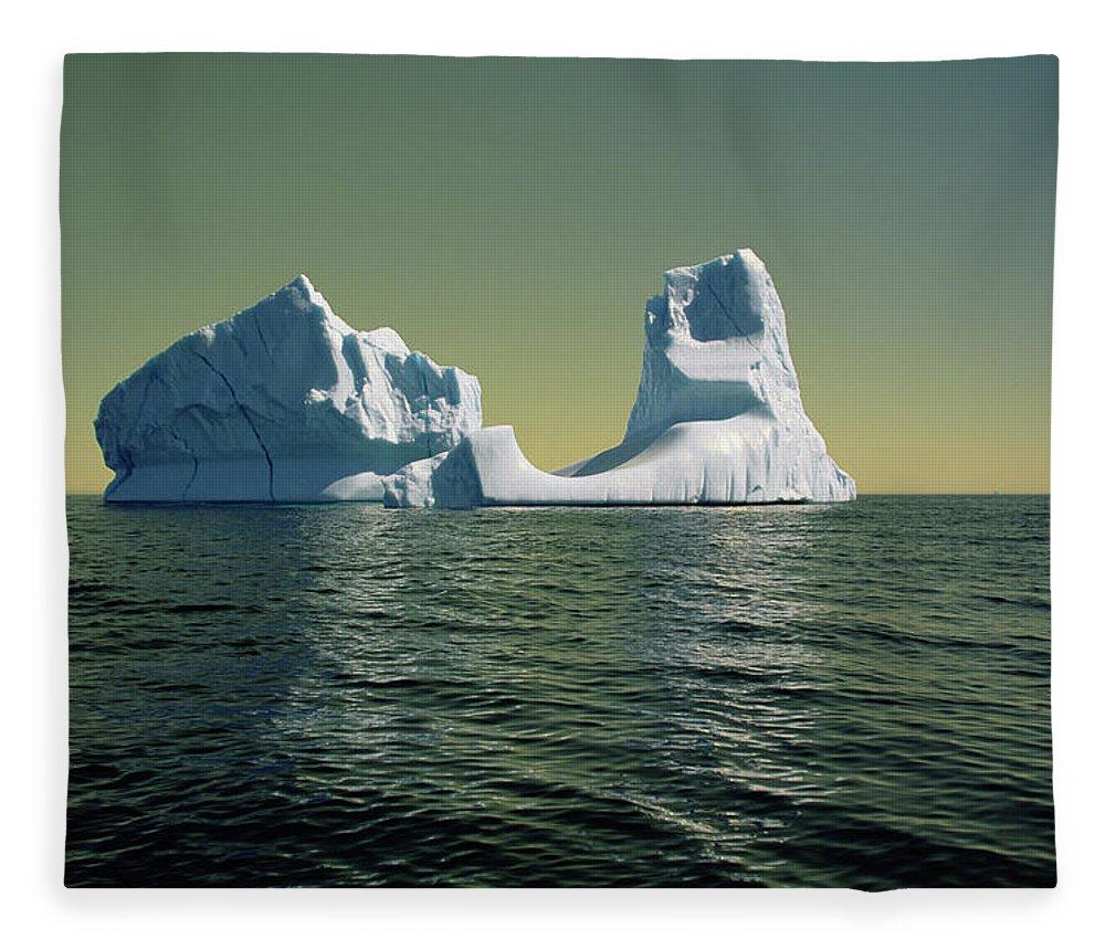 00342146 Fleece Blanket featuring the photograph Iceberg in the Labrador Sea by Yva Momatiuk John Eastcott