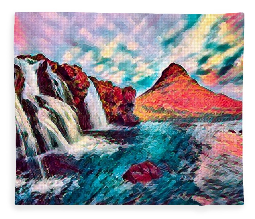 Abstract Fleece Blanket featuring the photograph Iceland Waterfalls by Robert Kinser
