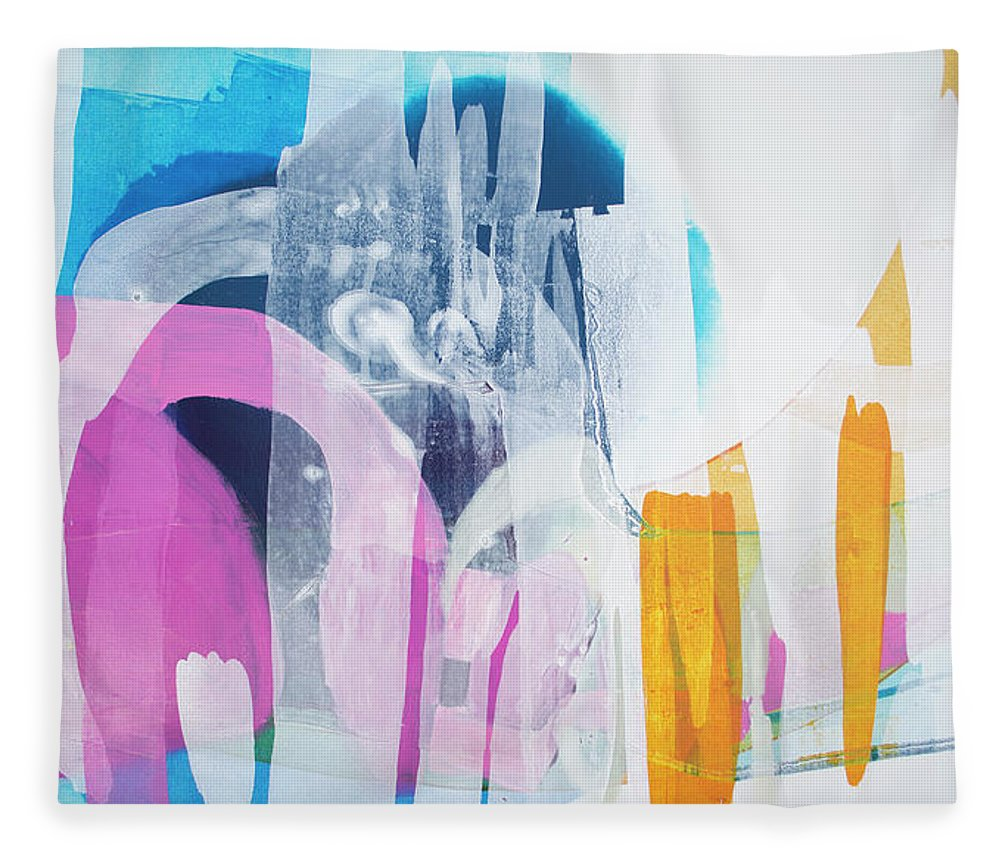 Abstract Fleece Blanket featuring the painting Icing On The Cake by Claire Desjardins