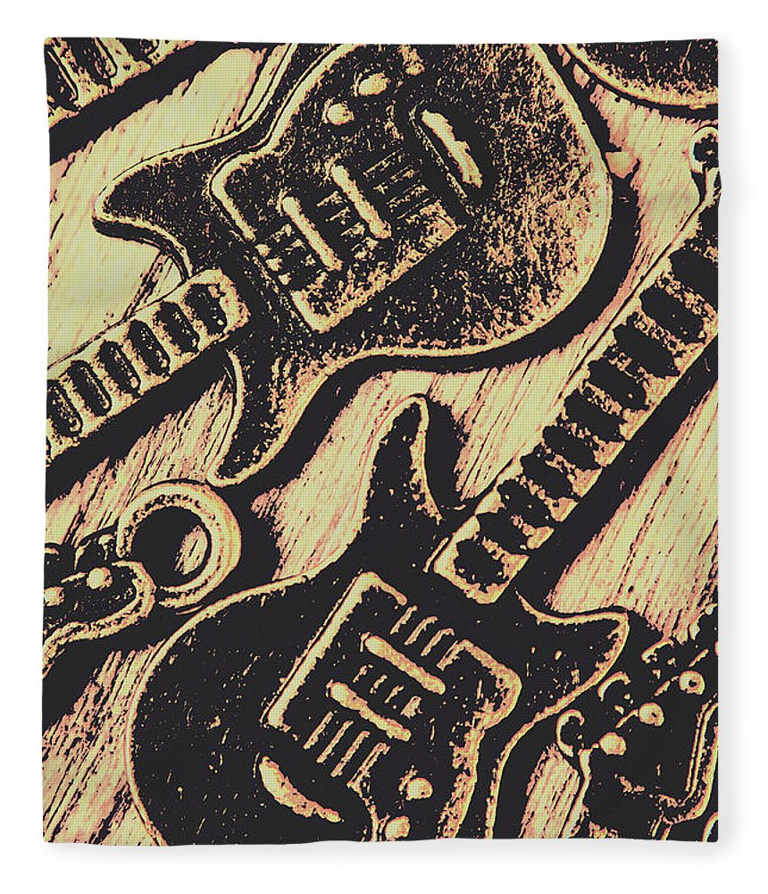 Guitars Fleece Blanket featuring the photograph Icons Of Vintage Music by Jorgo Photography - Wall Art Gallery