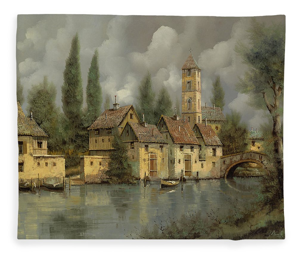 River Fleece Blanket featuring the painting Il Borgo Sul Fiume by Guido Borelli