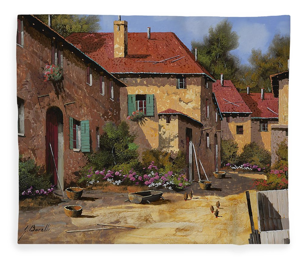 Chariot Fleece Blanket featuring the painting Il Carretto by Guido Borelli