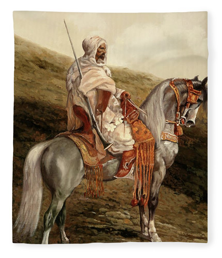 Knight Fleece Blanket featuring the painting Il Cavaliere by Guido Borelli