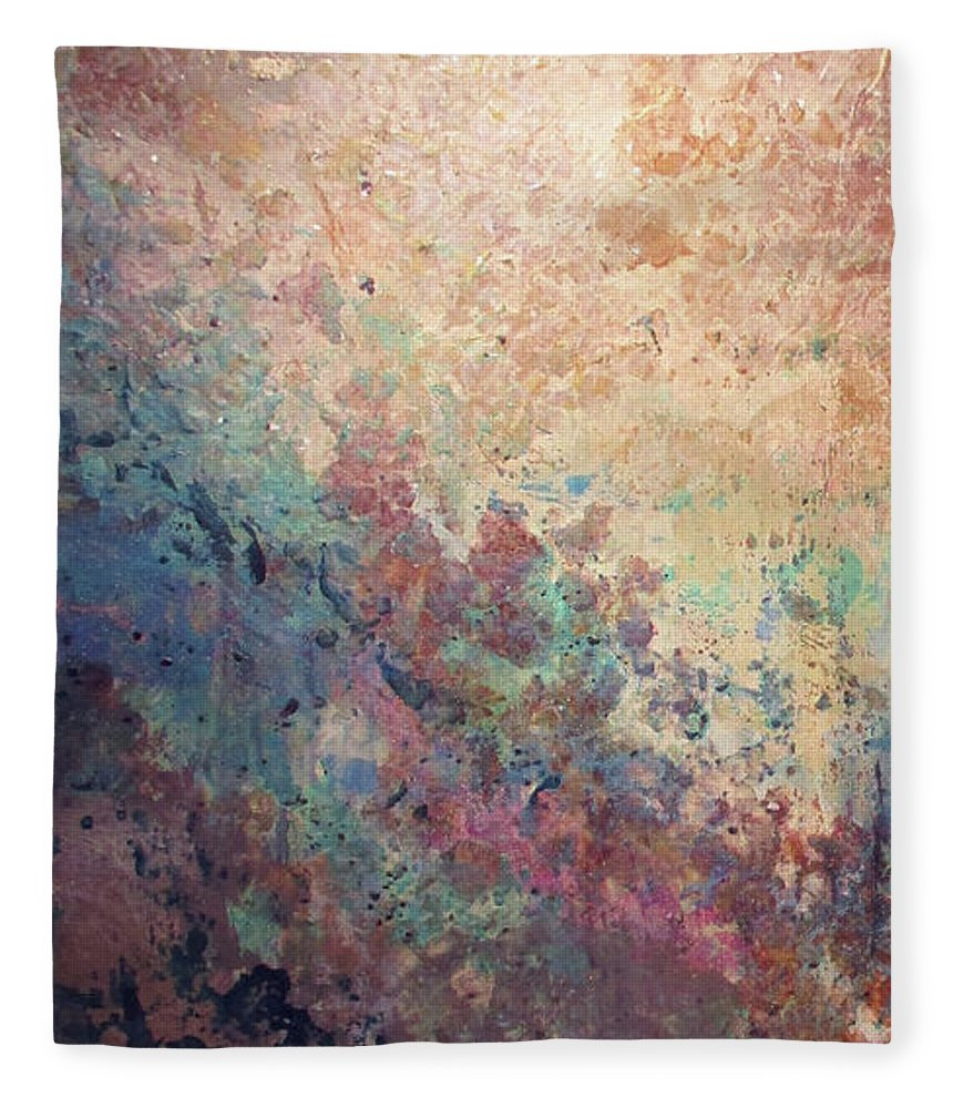 Mica Fleece Blanket featuring the painting Illuminated Valley I Diptych by Shadia Derbyshire