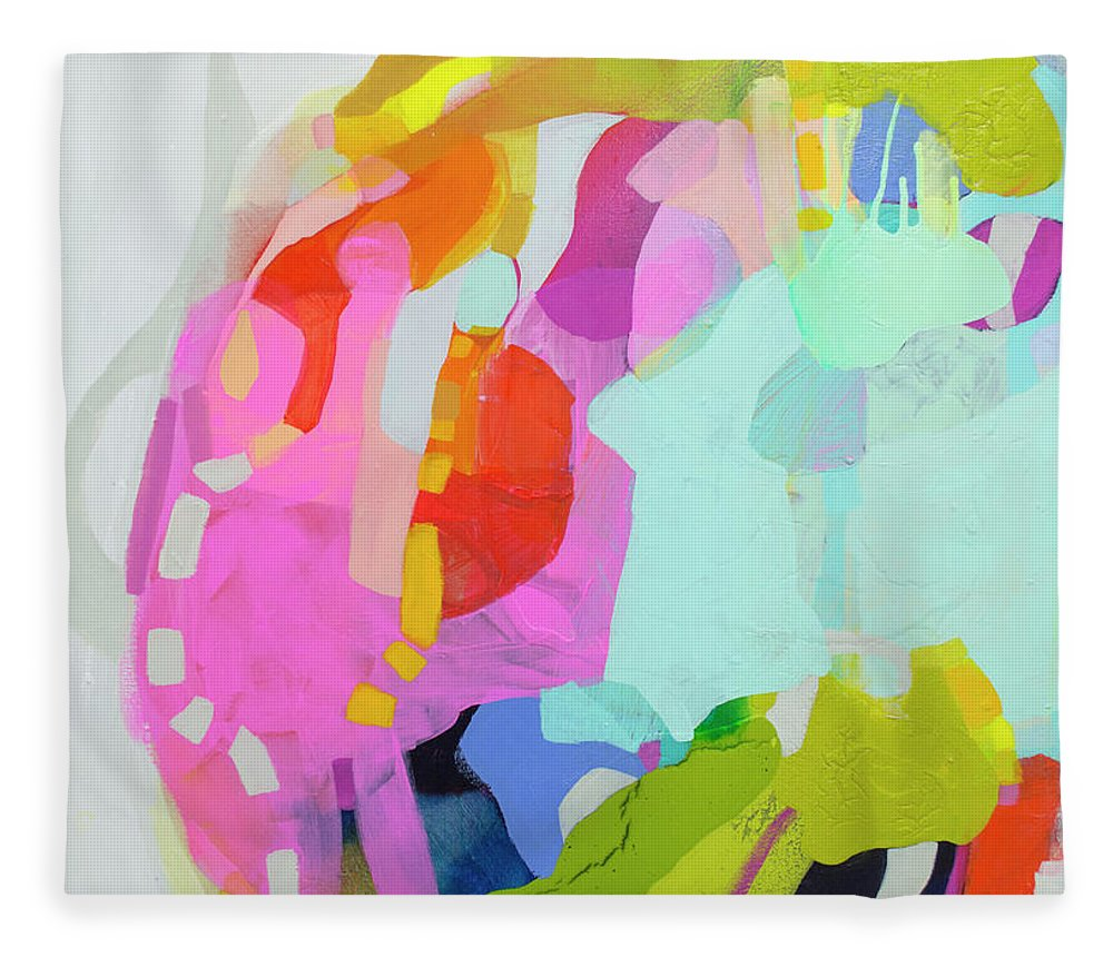 Abstract Fleece Blanket featuring the painting I'm So Glad by Claire Desjardins