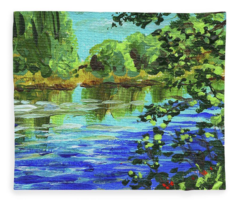 Landscape Fleece Blanket featuring the painting Impressionistic Landscape V by Irina Sztukowski