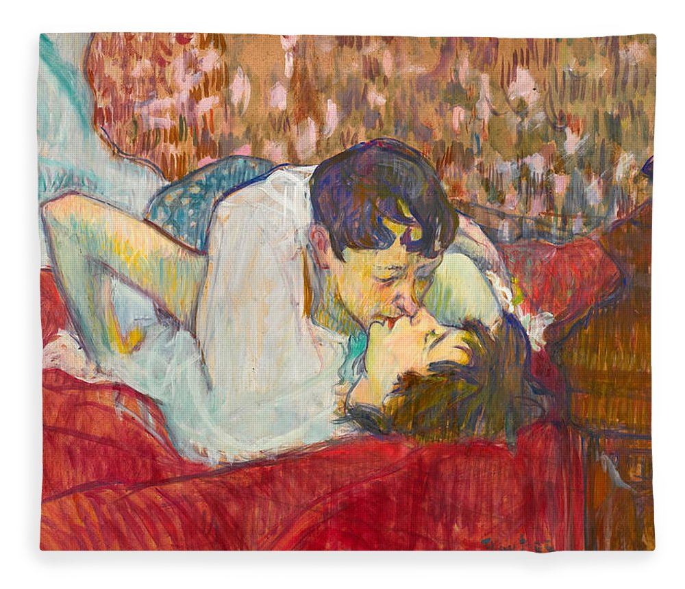 In Bed The Kiss Fleece Blanket For Sale By Henri De Toulouse Lautrec