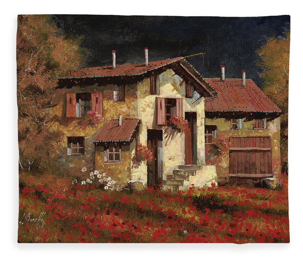 Landscape Fleece Blanket featuring the painting In Campagna La Sera by Guido Borelli