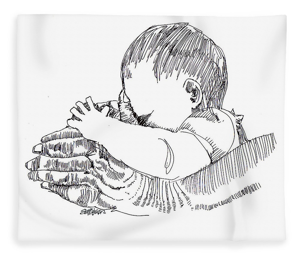Ink Drawing Fleece Blanket featuring the drawing In His Hands by Seth Weaver