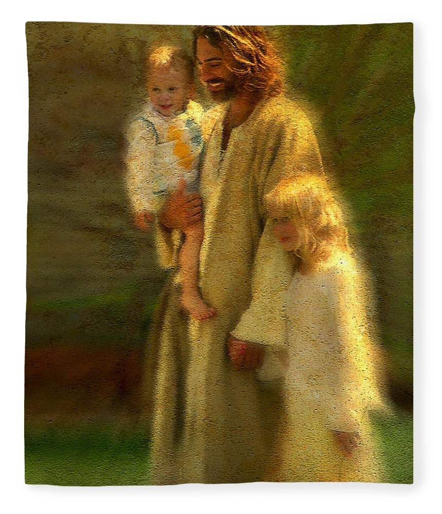 Jesus Fleece Blanket featuring the painting In the Arms of His Love by Greg Olsen