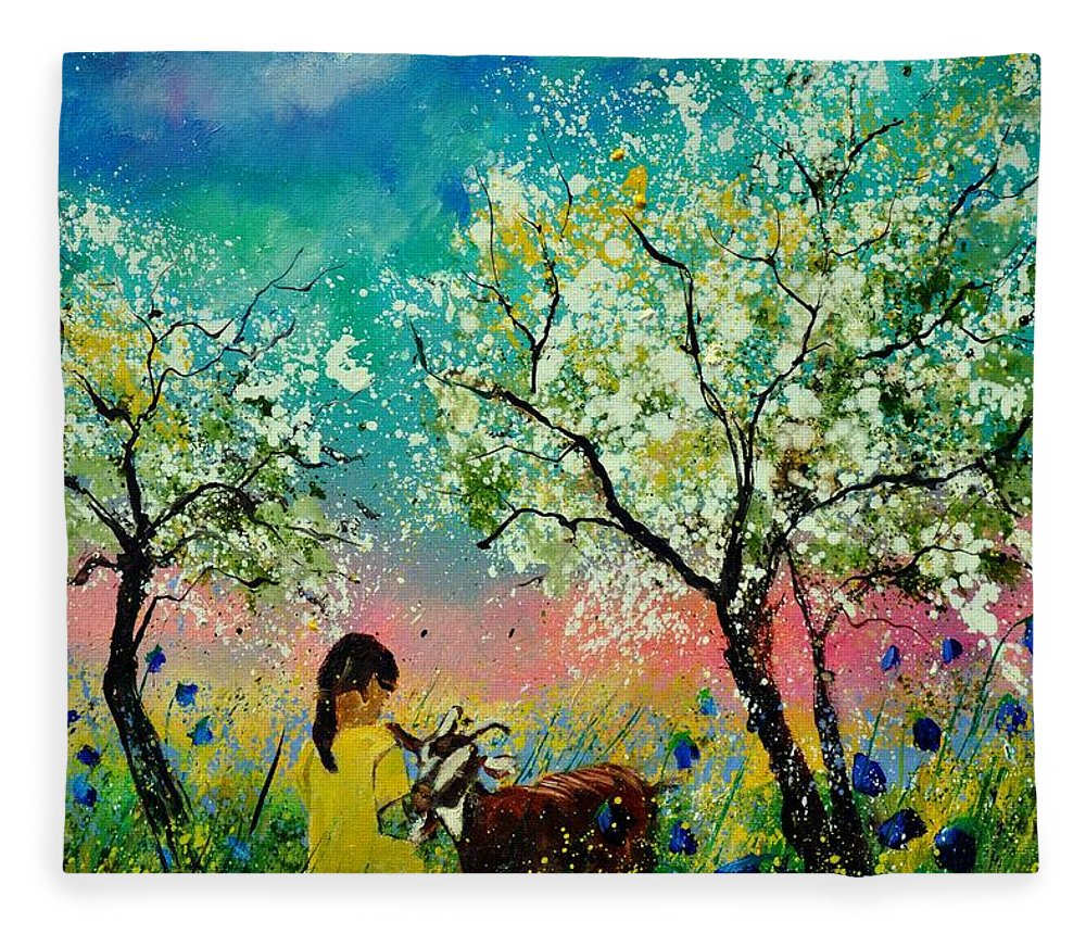 Landscape Fleece Blanket featuring the painting In the orchard by Pol Ledent