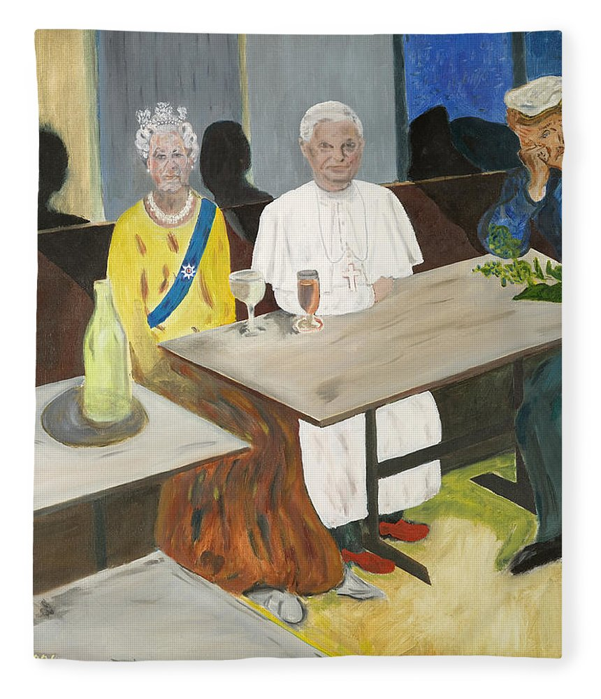 Pub Fleece Blanket featuring the painting In The Pub by Avi Lehrer