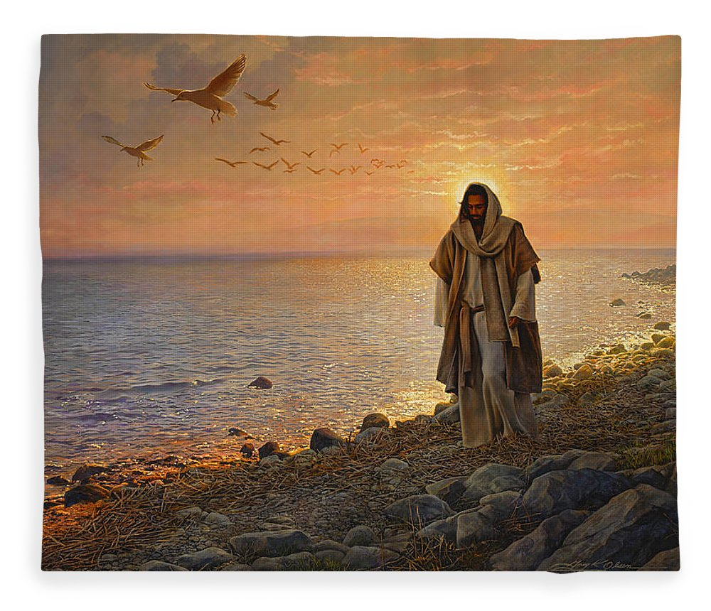 Jesus Fleece Blanket featuring the painting In the World Not of the World by Greg Olsen