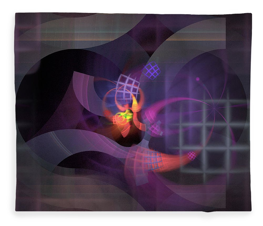 Graceful Fleece Blanket featuring the digital art In The Year Of The Tiger - Fractal Art by Nirvana Blues