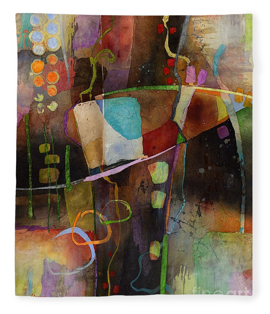 Abstract Fleece Blanket featuring the painting Incipient Bloom by Hailey E Herrera