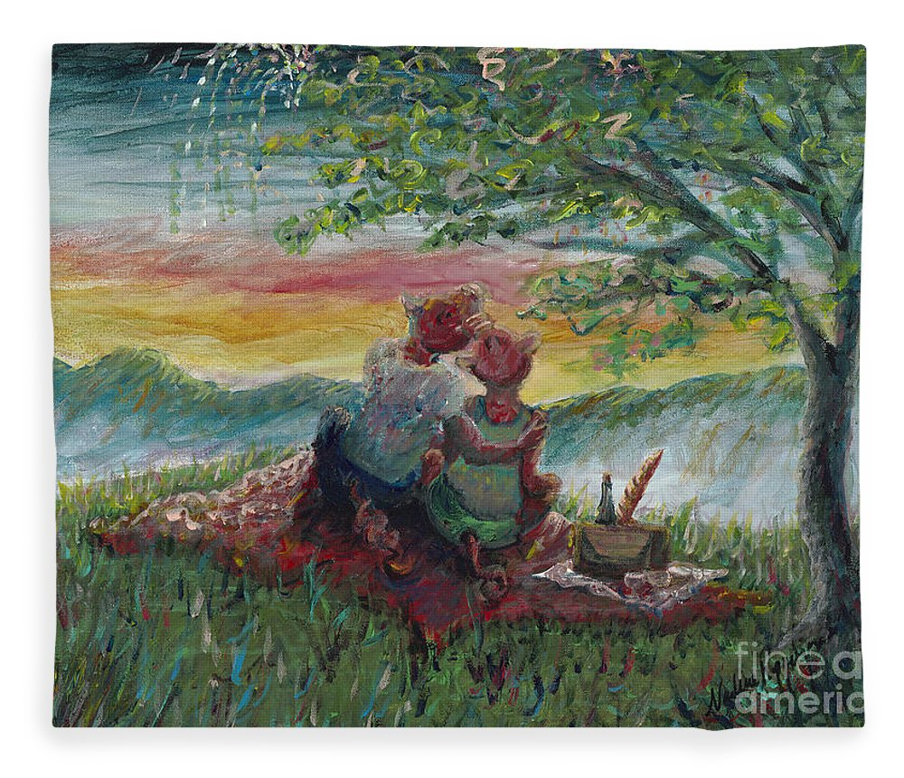 Landscape Fleece Blanket featuring the painting Independance Day Pignic by Nadine Rippelmeyer