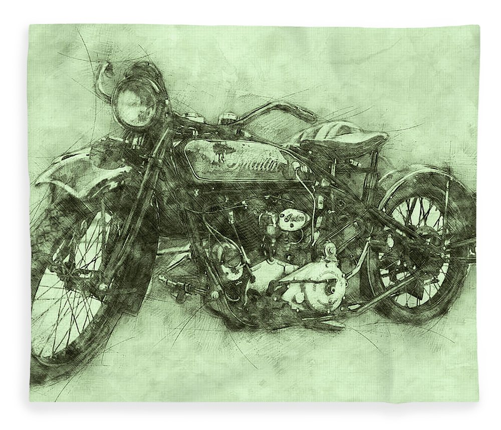Indian Chief Fleece Blanket featuring the mixed media Indian Chief 3 - 1922 - Vintage Motorcycle Poster - Automotive Art by Studio Grafiikka