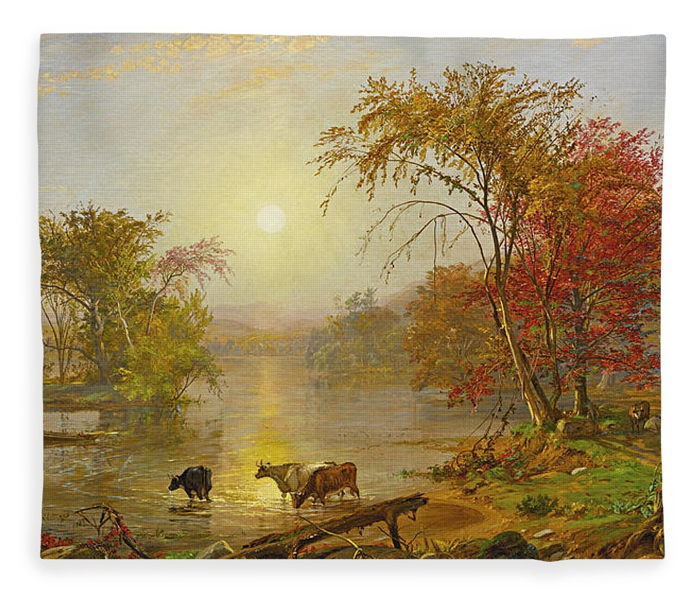 Jasper Francis Cropsey Fleece Blanket featuring the painting Indian Summer On The Susquehanna by Jasper Francis Cropsey
