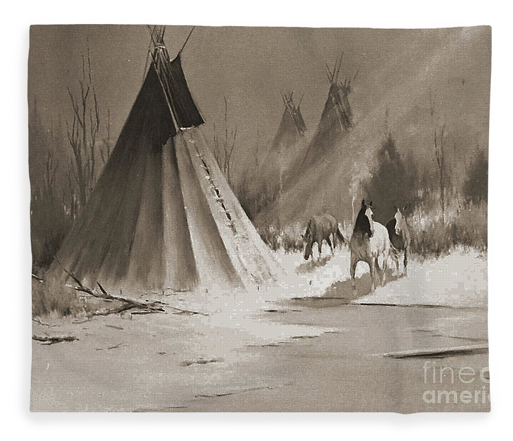 American Fleece Blanket featuring the photograph Indian Tee Pee by Gary Wonning