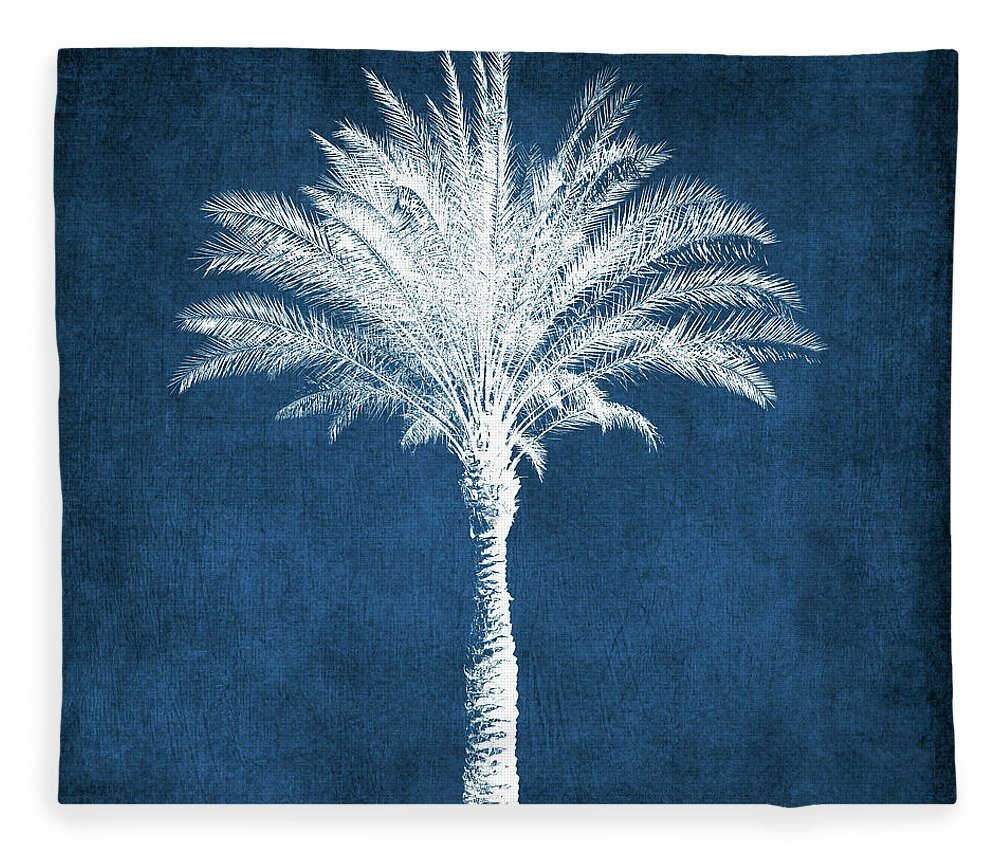 Palm Tree Fleece Blanket featuring the mixed media Indigo and White Palm Tree- Art by Linda Woods by Linda Woods