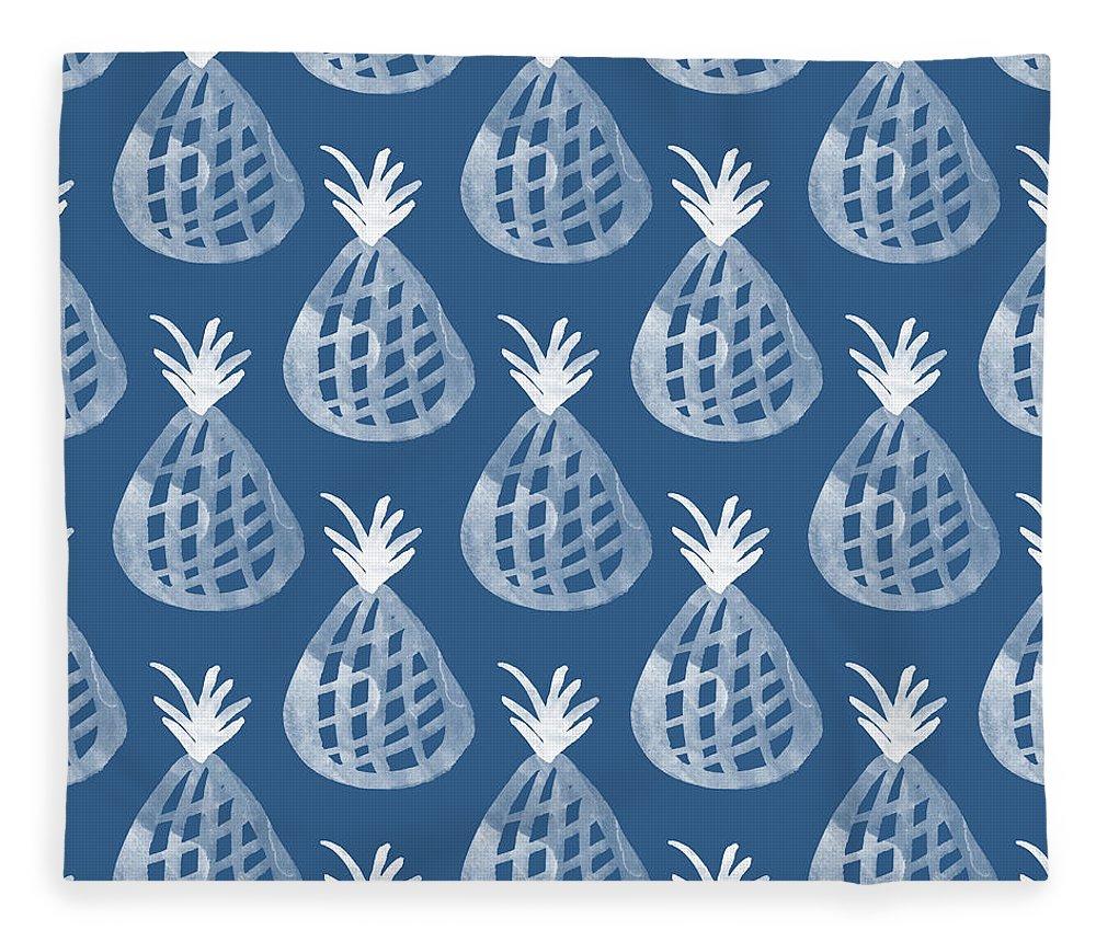 Indigo Fleece Blanket featuring the mixed media Indigo Pineapple Party by Linda Woods