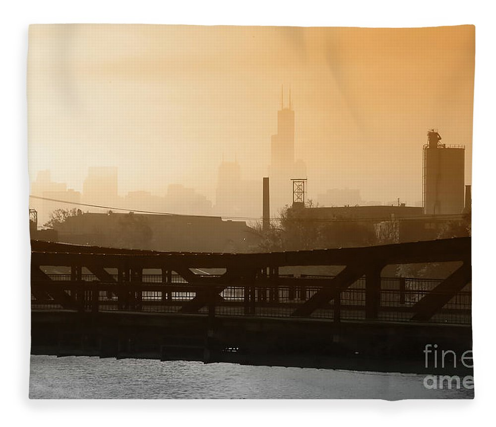Chicago Fleece Blanket featuring the photograph Industrial Foggy Chicago Skyline by Bruno Passigatti