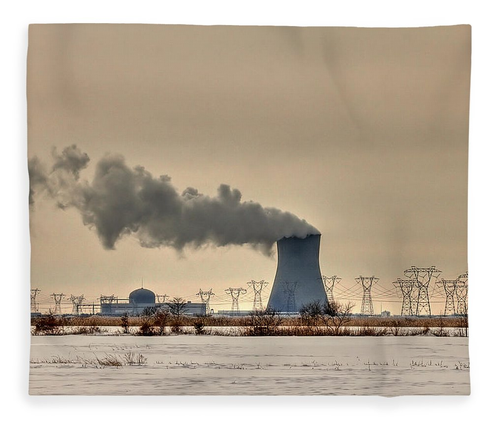 Clouds Fleece Blanket featuring the photograph Industrialscape by Evelina Kremsdorf
