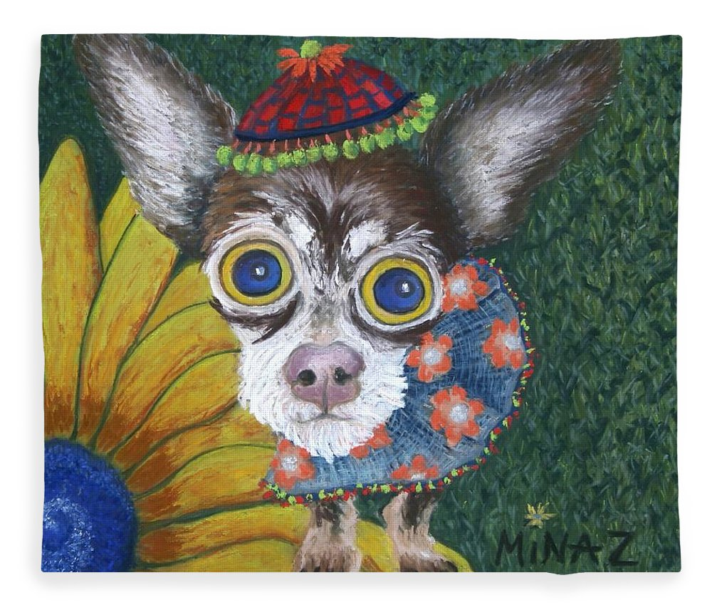 Chihuahua Fleece Blanket featuring the painting Inside Van Gogh's Garden Sits Sunflower Sally by Minaz Jantz