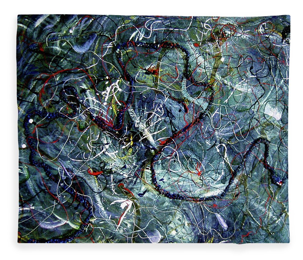 Acrylic Fleece Blanket featuring the painting Intertwining Paths by Nancy Mueller