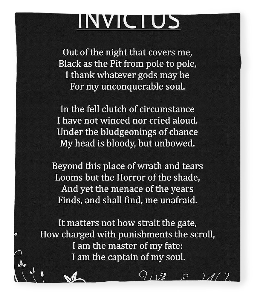 Invictus Fleece Blanket featuring the mixed media Invictus by Dan Sproul