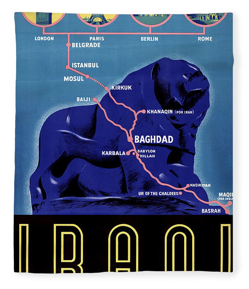 Vintage Fleece Blanket featuring the painting Iraq Vintage Travel Poster Restored by Vintage Treasure